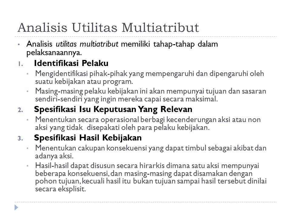 Analisis Utilitas Multiatribut Analisis utilitas multiatribut memiliki tahap-tahap dalam pelaksanaannya. 1. Identifikasi Pelaku Mengidentifikasi pihak