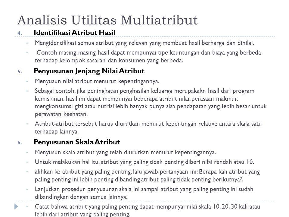 Analisis Utilitas Multiatribut 4. Identifikasi Atribut Hasil Mengidentifikasi semua atribut yang relevan yang membuat hasil berharga dan dinilai. Cont