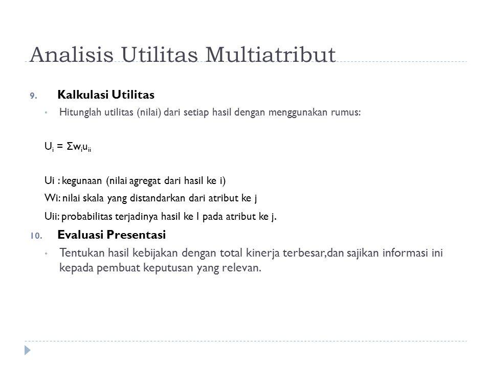 Analisis Utilitas Multiatribut 9. Kalkulasi Utilitas Hitunglah utilitas (nilai) dari setiap hasil dengan menggunakan rumus: U i = Σ w i u ii Ui : kegu