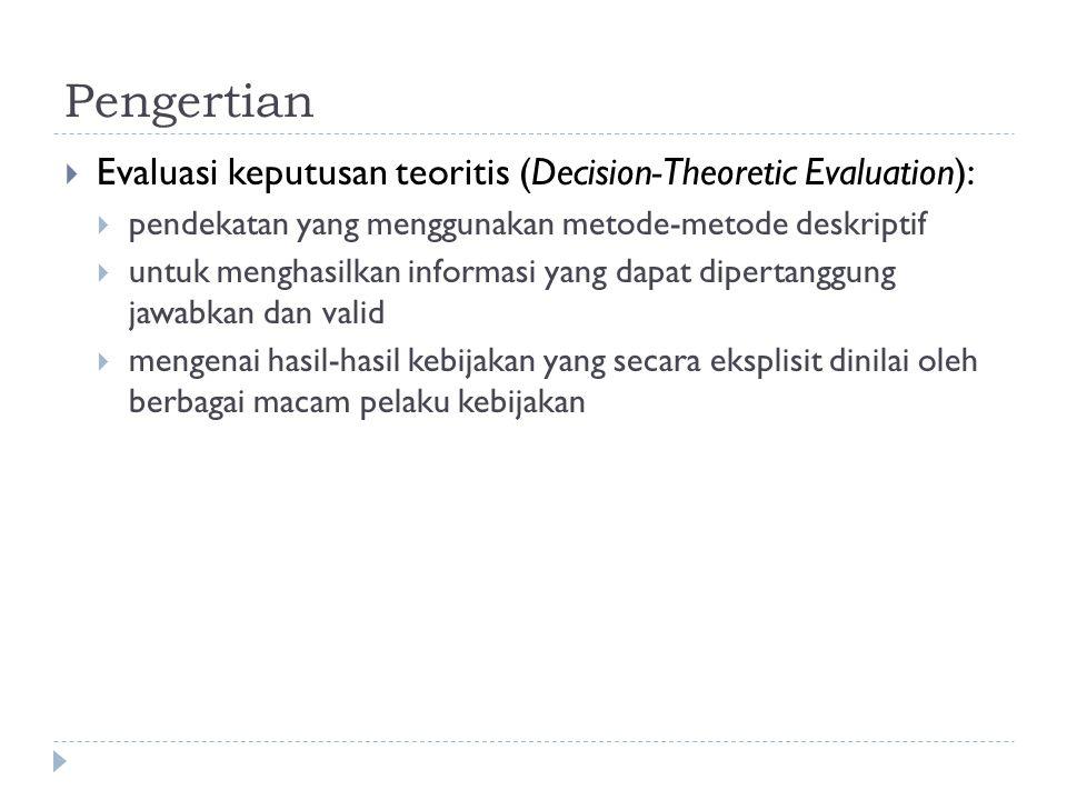 Pengertian  Evaluasi keputusan teoritis (Decision-Theoretic Evaluation):  pendekatan yang menggunakan metode-metode deskriptif  untuk menghasilkan