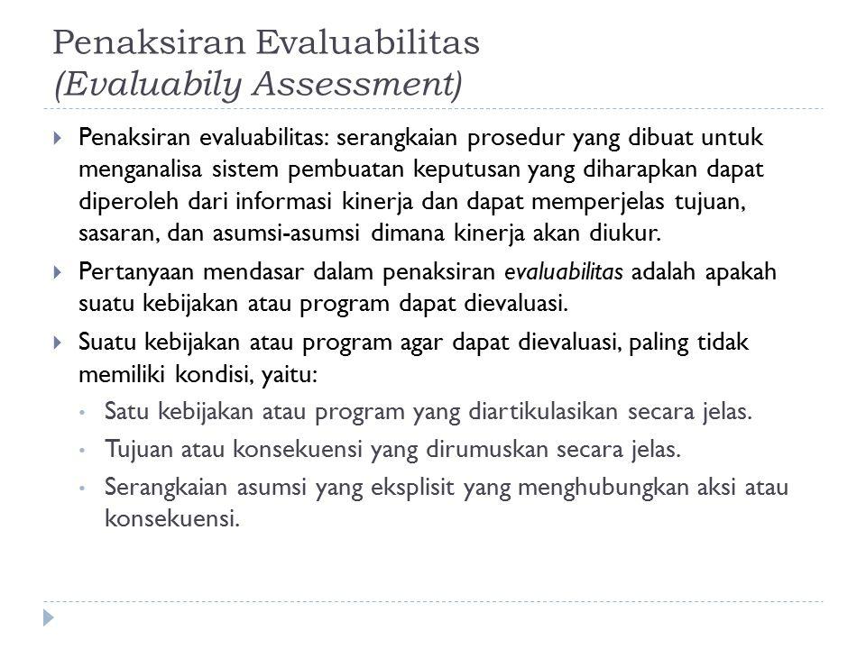 Penaksiran Evaluabilitas (Evaluabily Assessment)  Penaksiran evaluabilitas: serangkaian prosedur yang dibuat untuk menganalisa sistem pembuatan keput