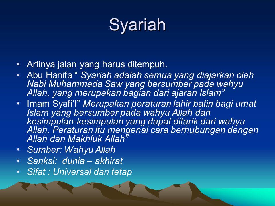 Syariah Artinya jalan yang harus ditempuh.
