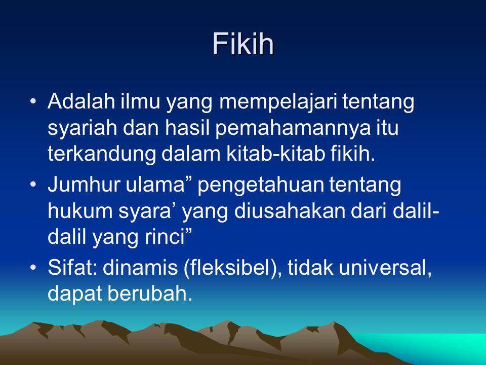 Fikih Adalah ilmu yang mempelajari tentang syariah dan hasil pemahamannya itu terkandung dalam kitab-kitab fikih.