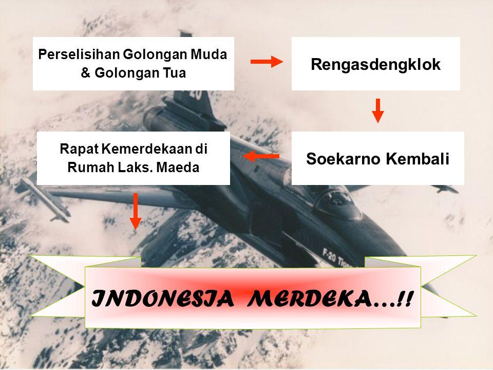 Perselisihan Golongan Muda & Golongan Tua Rengasdengklok Soekarno Kembali Rapat Kemerdekaan di Rumah Laks.