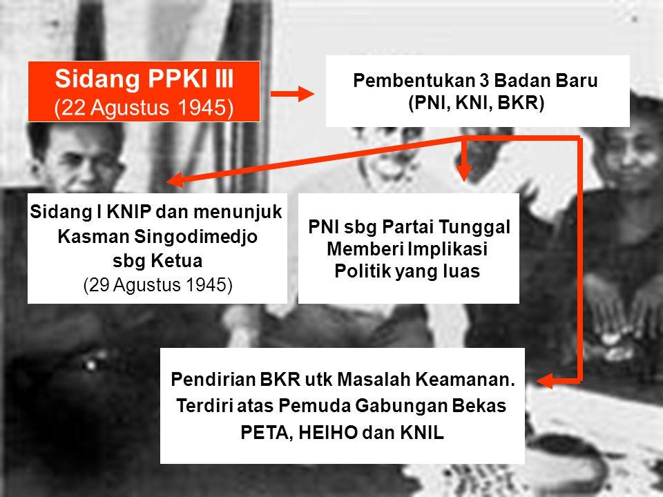 Sidang PPKI III (22 Agustus 1945) Pembentukan 3 Badan Baru (PNI, KNI, BKR) Sidang I KNIP dan menunjuk Kasman Singodimedjo sbg Ketua (29 Agustus 1945) PNI sbg Partai Tunggal Memberi Implikasi Politik yang luas Pendirian BKR utk Masalah Keamanan.