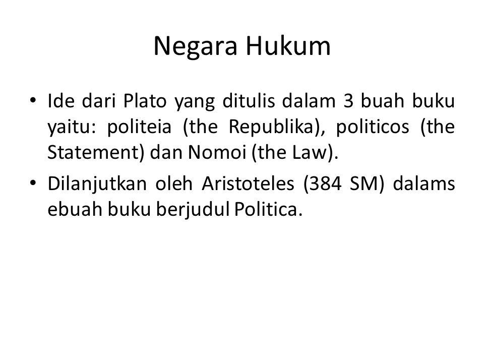 Negara Hukum Ide dari Plato yang ditulis dalam 3 buah buku yaitu: politeia (the Republika), politicos (the Statement) dan Nomoi (the Law). Dilanjutkan