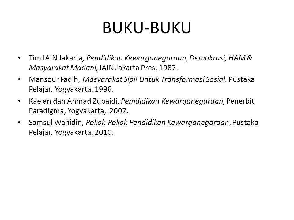BUKU-BUKU Tim IAIN Jakarta, Pendidikan Kewarganegaraan, Demokrasi, HAM & Masyarakat Madani, IAIN Jakarta Pres, 1987. Mansour Faqih, Masyarakat Sipil U
