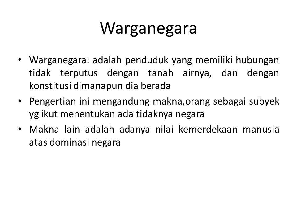 Hak-Hak Warganegara Segala warganegara bersamaan kedudukannya di dalam hukum & pemerintahan…(UUD 1945 ps.
