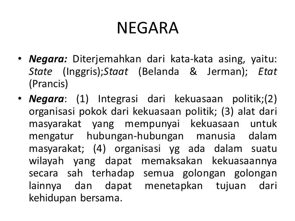 NEGARA Negara: Diterjemahkan dari kata-kata asing, yaitu: State (Inggris);Staat (Belanda & Jerman); Etat (Prancis) Negara: (1) Integrasi dari kekuasaa