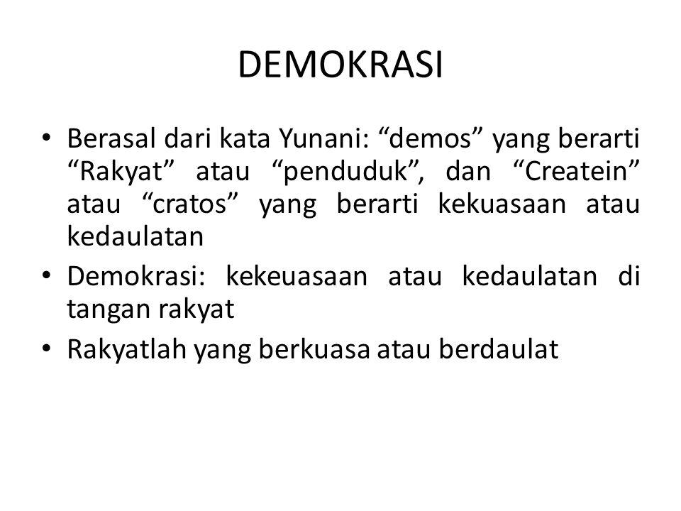 """Berasal dari kata Yunani: """"demos"""" yang berarti """"Rakyat"""" atau """"penduduk"""", dan """"Createin"""" atau """"cratos"""" yang berarti kekuasaan atau kedaulatan Demokrasi"""