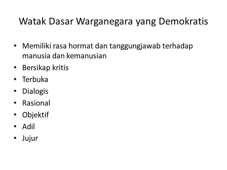 Watak Dasar Warganegara yang Demokratis Memiliki rasa hormat dan tanggungjawab terhadap manusia dan kemanusian Bersikap kritis Terbuka Dialogis Rasion