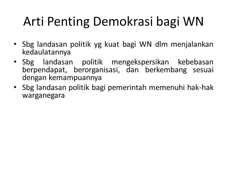 Arti Penting Demokrasi bagi WN Sbg landasan politik yg kuat bagi WN dlm menjalankan kedaulatannya Sbg landasan politik mengekspersikan kebebasan berpe