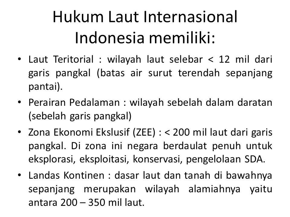 Hukum Laut Internasional Indonesia memiliki: Laut Teritorial : wilayah laut selebar < 12 mil dari garis pangkal (batas air surut terendah sepanjang pa