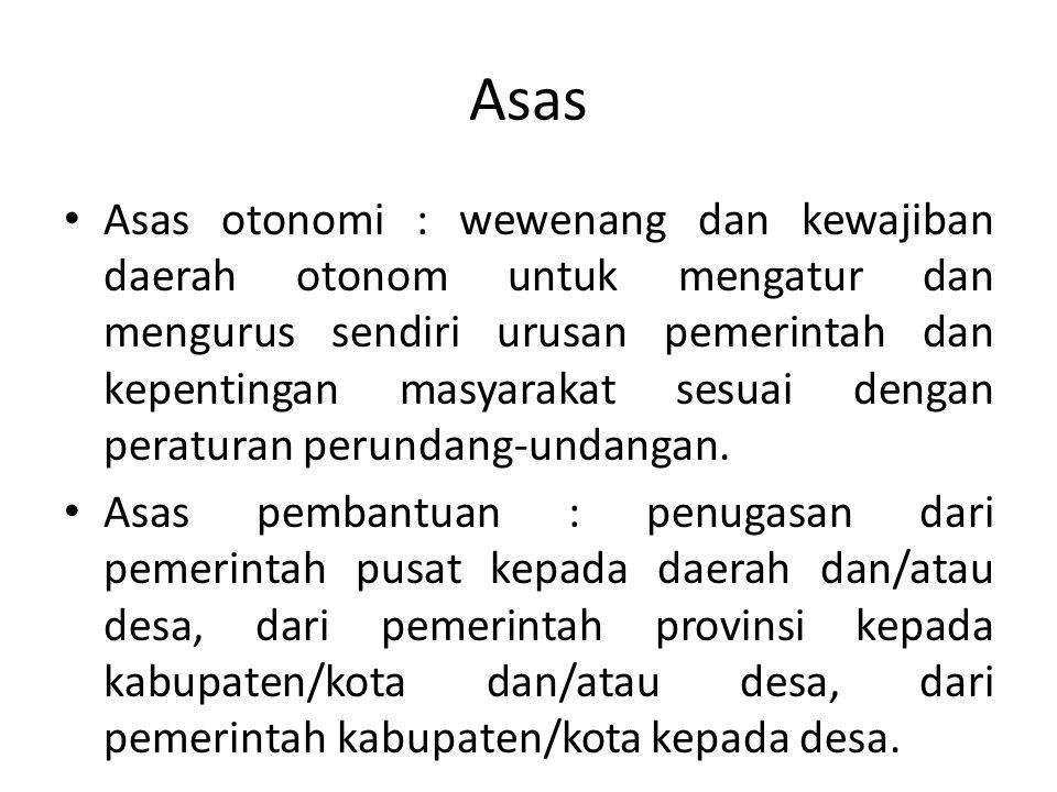 Asas Asas otonomi : wewenang dan kewajiban daerah otonom untuk mengatur dan mengurus sendiri urusan pemerintah dan kepentingan masyarakat sesuai denga