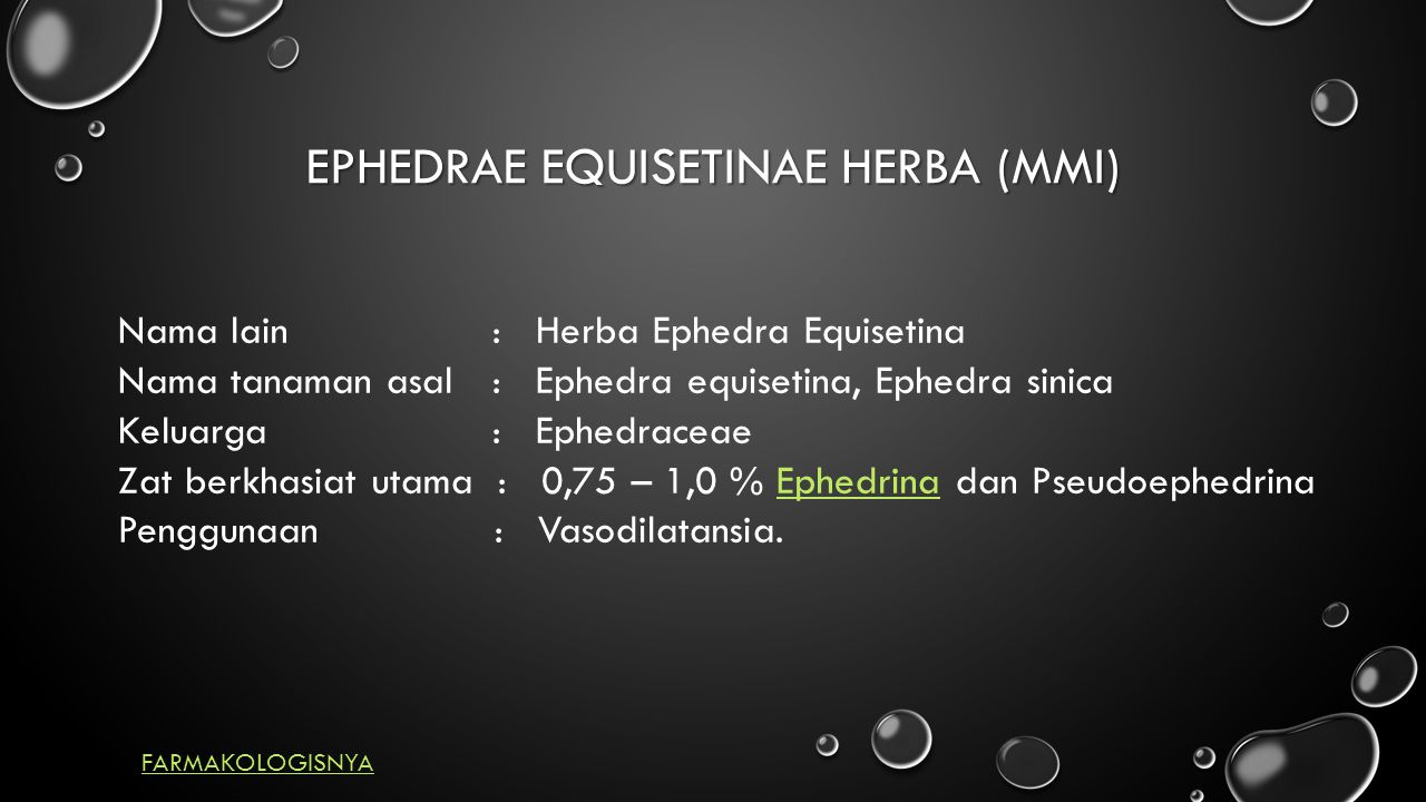 EPHEDRAE EQUISETINAE HERBA (MMI) Nama lain : Herba Ephedra Equisetina Nama tanaman asal : Ephedra equisetina, Ephedra sinica Keluarga : Ephedraceae Zat berkhasiat utama : 0,75 – 1,0 % Ephedrina dan PseudoephedrinaEphedrina Penggunaan : Vasodilatansia.