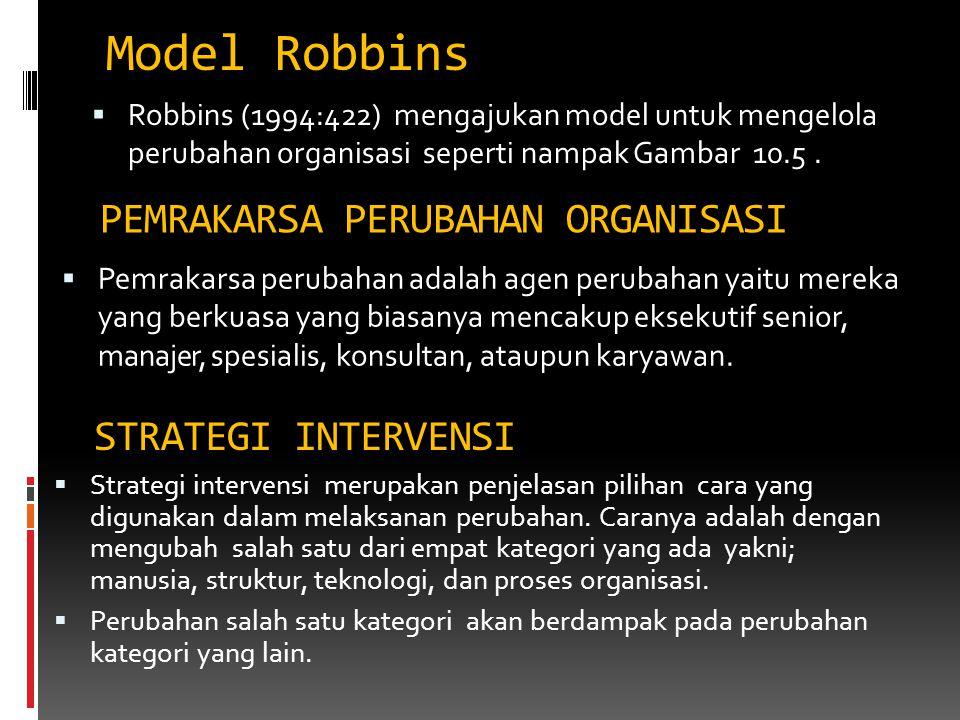 Model Robbins  Robbins (1994:422) mengajukan model untuk mengelola perubahan organisasi seperti nampak Gambar 10.5. PEMRAKARSA PERUBAHAN ORGANISASI 