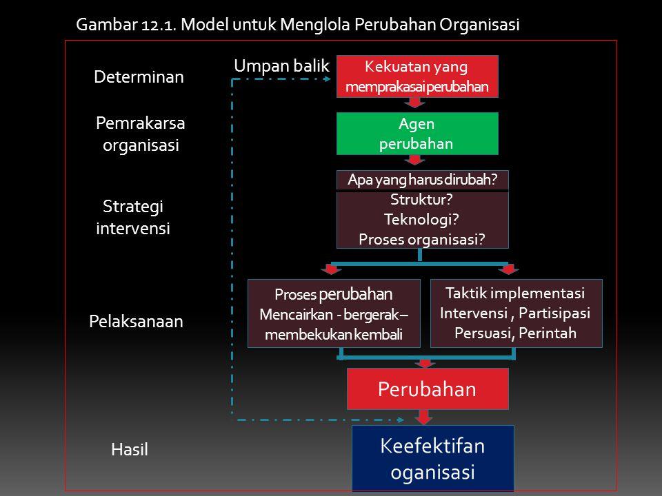 Kekuatan yang memprakasai perubahan Agen perubahan Apa yang harus dirubah? Struktur? Teknologi? Proses organisasi? Taktik implementasi Intervensi, Par
