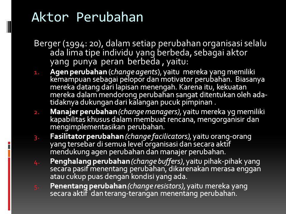 Aktor Perubahan Berger (1994: 20), dalam setiap perubahan organisasi selalu ada lima tipe individu yang berbeda, sebagai aktor yang punya peran berbed