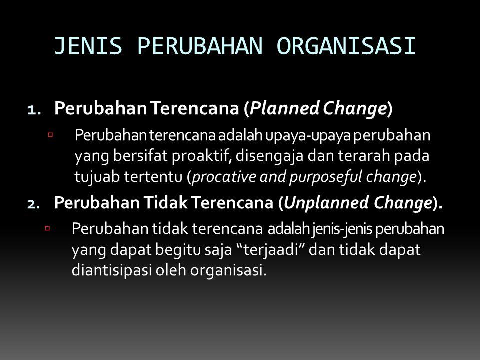 JENIS PERUBAHAN ORGANISASI 1. Perubahan Terencana (Planned Change)  Perubahan terencana adalah upaya-upaya perubahan yang bersifat proaktif, disengaj