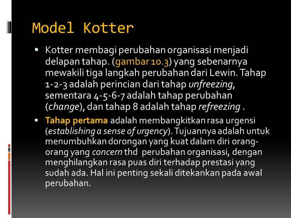 Model Kotter  Kotter membagi perubahan organisasi menjadi delapan tahap. (gambar 10.3) yang sebenarnya mewakili tiga langkah perubahan dari Lewin. Ta