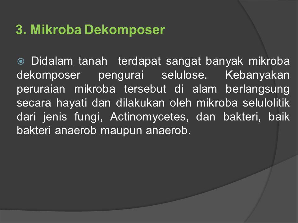 3.Mikroba Dekomposer  Didalam tanah terdapat sangat banyak mikroba dekomposer pengurai selulose.