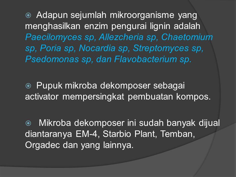  Adapun sejumlah mikroorganisme yang menghasilkan enzim pengurai lignin adalah Paecilomyces sp, Allezcheria sp, Chaetomium sp, Poria sp, Nocardia sp,