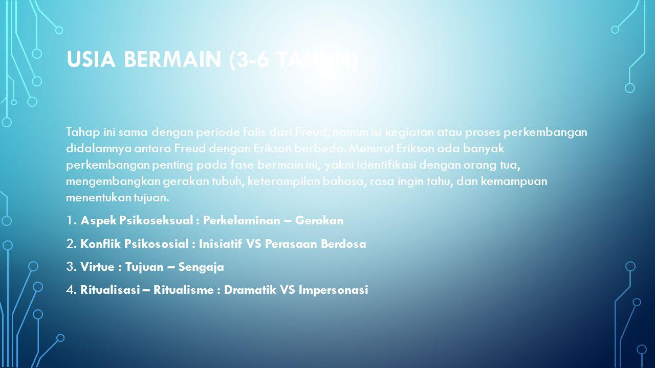 USIA BERMAIN (3-6 TAHUN) Tahap ini sama dengan periode falis dari Freud, namun isi kegiatan atau proses perkembangan didalamnya antara Freud dengan Er