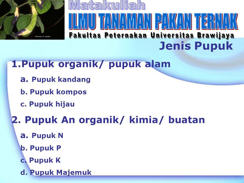 Jenis Pupuk 1.Pupuk organik/ pupuk alam a. Pupuk kandang b. Pupuk kompos c. Pupuk hijau 2. Pupuk An organik/ kimia/ buatan a. Pupuk N b. Pupuk P c. Pu