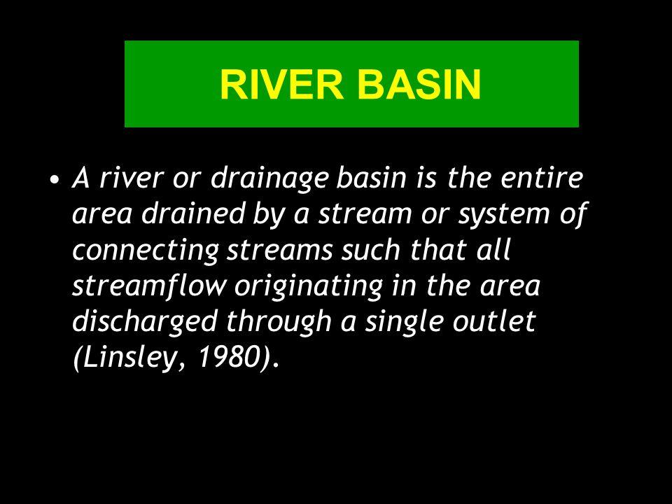 New concept  River basin are : A landscape with topographic border A hydrologic unit An ecosystem unit DAS adalah suatu wilayah kesatuan ekosistem yang dibatasi oleh pemisah air topografis dan berfungsi sebagai pengumpul, penyimpan dan penyalur air, sedimen dan unsur hara dalam sistem sungai yang kesemuanya keluar melalui outlet tunggal