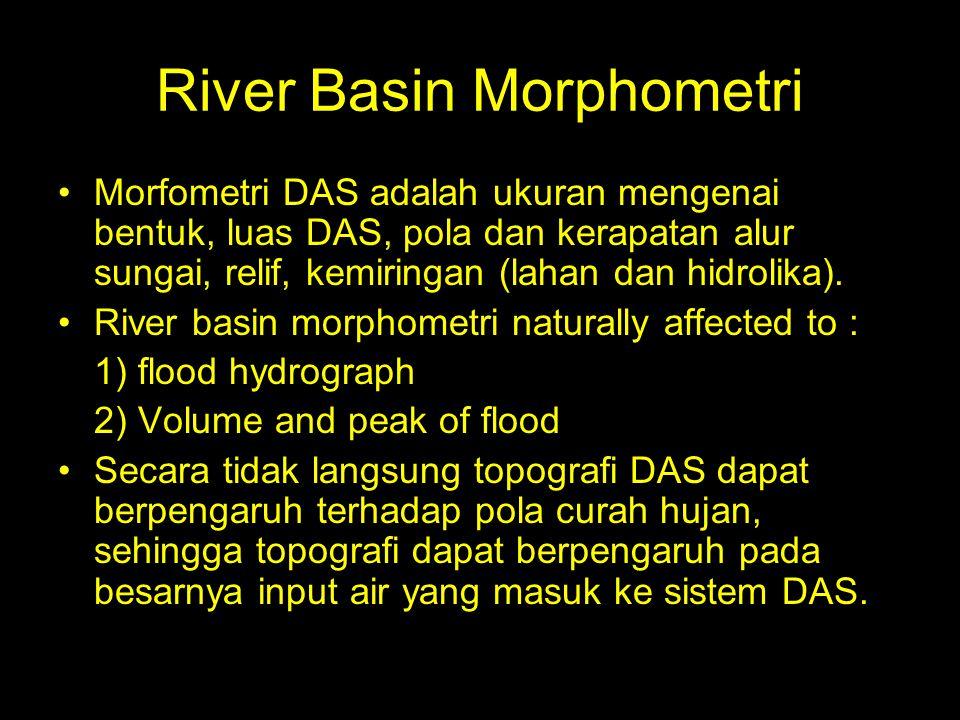 River Basin Morphometri Morfometri DAS adalah ukuran mengenai bentuk, luas DAS, pola dan kerapatan alur sungai, relif, kemiringan (lahan dan hidrolika).