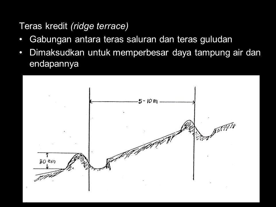 Teras kredit (ridge terrace) Gabungan antara teras saluran dan teras guludan Dimaksudkan untuk memperbesar daya tampung air dan endapannya