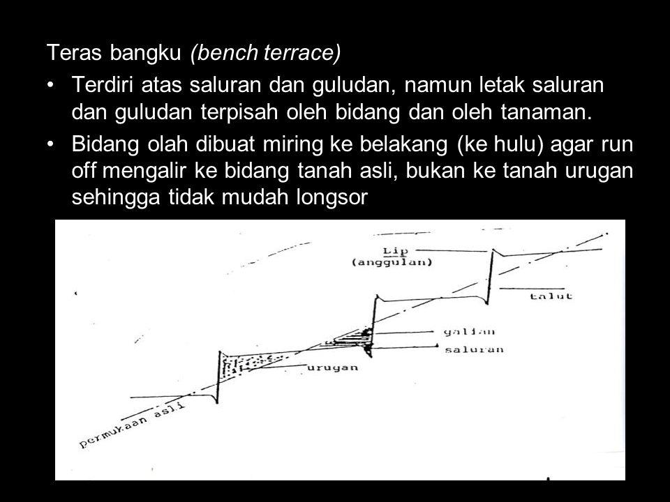 Teras bangku (bench terrace) Terdiri atas saluran dan guludan, namun letak saluran dan guludan terpisah oleh bidang dan oleh tanaman.