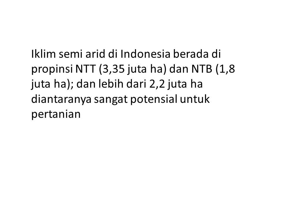 Iklim semi arid di Indonesia berada di propinsi NTT (3,35 juta ha) dan NTB (1,8 juta ha); dan lebih dari 2,2 juta ha diantaranya sangat potensial untu