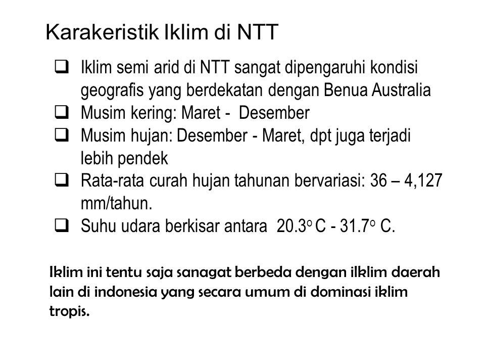 Karakeristik Iklim di NTT  Iklim semi arid di NTT sangat dipengaruhi kondisi geografis yang berdekatan dengan Benua Australia  Musim kering: Maret -