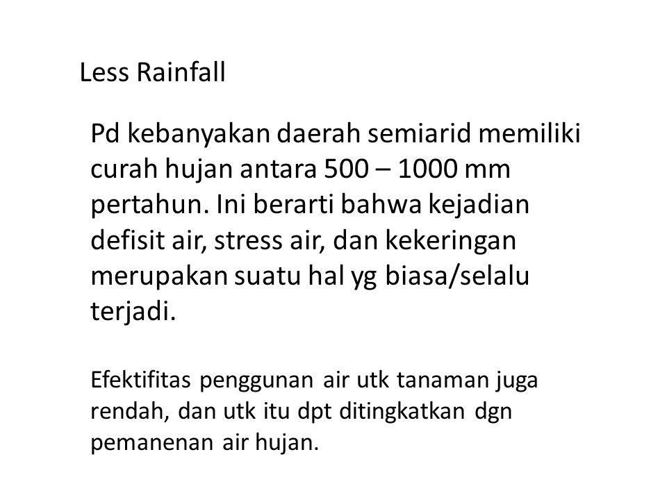 Less Rainfall Pd kebanyakan daerah semiarid memiliki curah hujan antara 500 – 1000 mm pertahun. Ini berarti bahwa kejadian defisit air, stress air, da