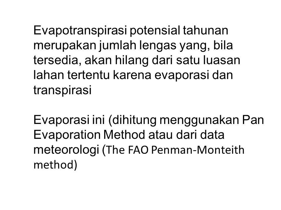 Evapotranspirasi potensial tahunan merupakan jumlah lengas yang, bila tersedia, akan hilang dari satu luasan lahan tertentu karena evaporasi dan trans