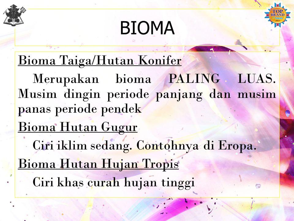 BIOMA Ekosistem dalam skala besar, misalnya: Bioma Gurun Ciri khas berupa tanaman kaktus. Bioma Padang Rumput Porositas dan drainase kurang baik. Biom