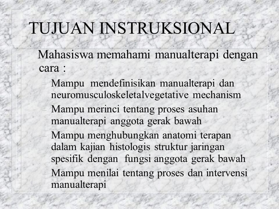 TUJUAN INSTRUKSIONAL Mahasiswa memahami manualterapi dengan cara : – Mampu mendefinisikan manualterapi dan neuromusculoskeletalvegetative mechanism –