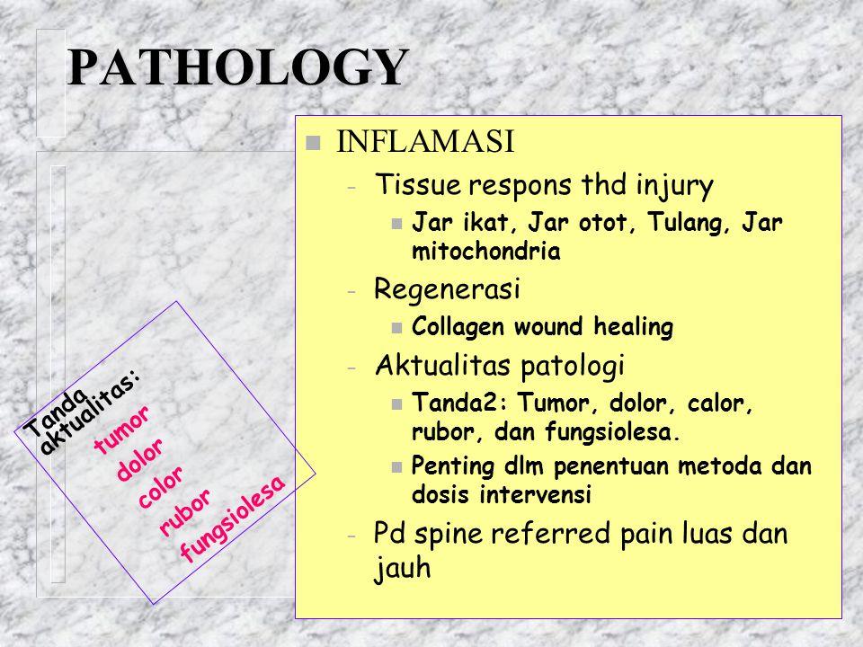 PATHOLOGY n INFLAMASI – Tissue respons thd injury n Jar ikat, Jar otot, Tulang, Jar mitochondria – Regenerasi n Collagen wound healing – Aktualitas pa