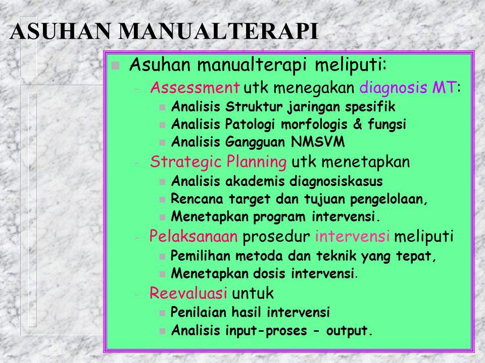 ASUHAN MANUALTERAPI n Asuhan manualterapi meliputi: – Assessment utk menegakan diagnosis MT: n Analisis Struktur jaringan spesifik n Analisis Patologi