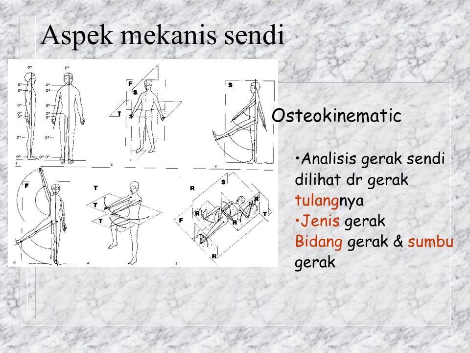 n Arthrokinematic Roll-slide – Analisis gerak dg memandang gerak antar pemukaan sendinya – Traction-Compression: tarikan-tekanan tegak lurus permukaan sendi (concave) Penerapan pd spine : Gapping-3 dimensi ekstensi.