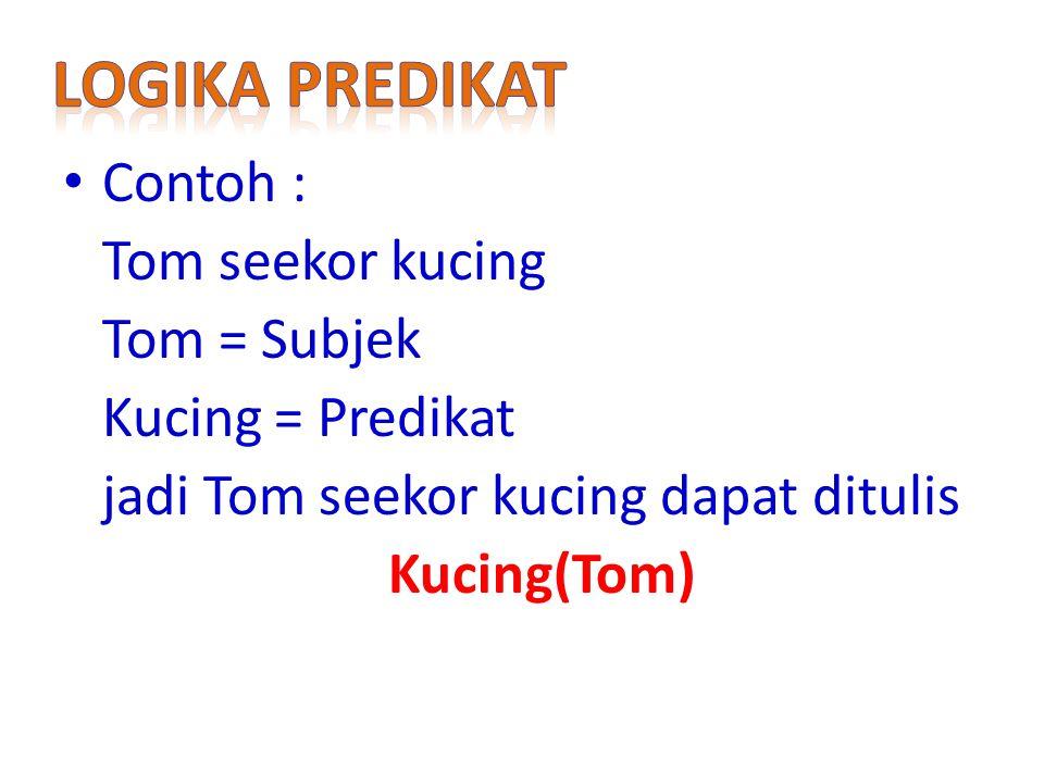Contoh : Tom seekor kucing Tom = Subjek Kucing = Predikat jadi Tom seekor kucing dapat ditulis Kucing(Tom)