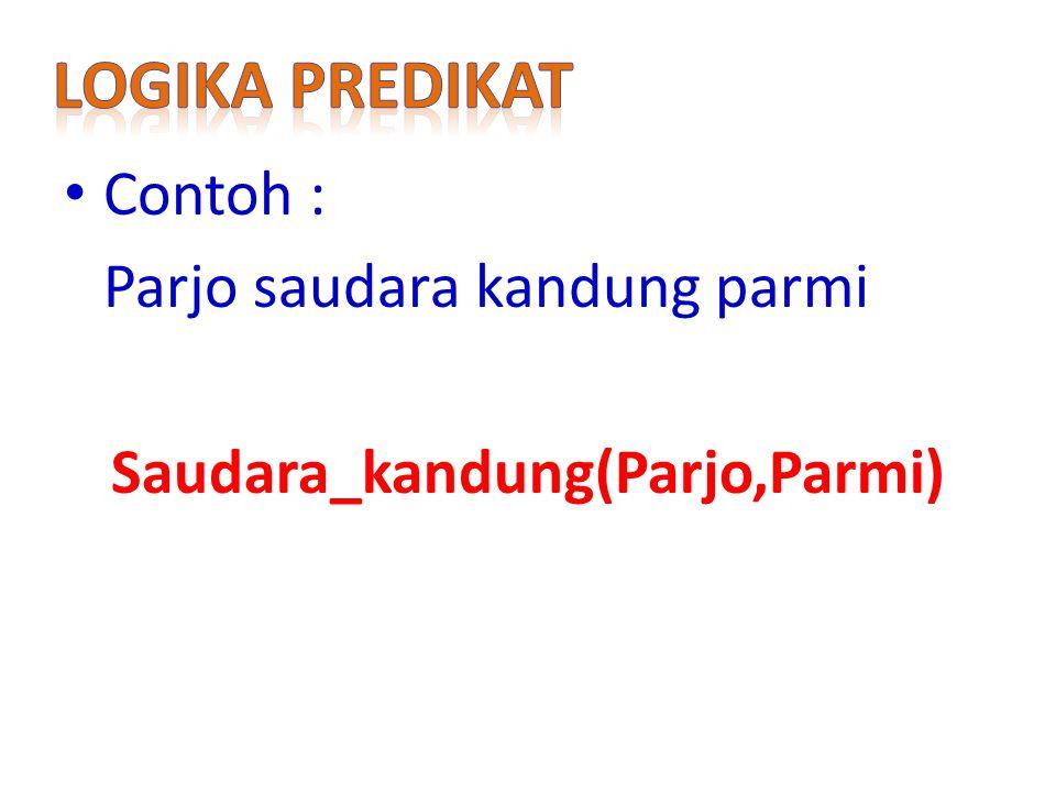 Contoh : Parjo saudara kandung parmi Saudara_kandung(Parjo,Parmi)