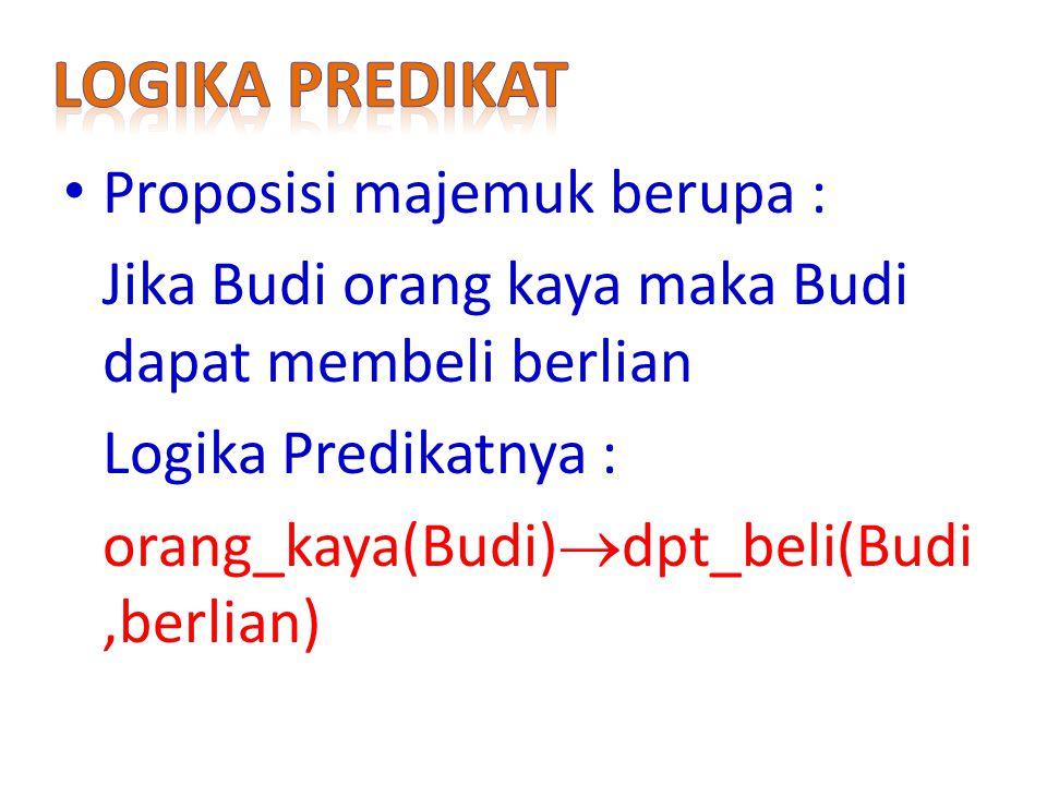 Proposisi majemuk berupa : Jika Budi orang kaya maka Budi dapat membeli berlian Logika Predikatnya : orang_kaya(Budi)  dpt_beli(Budi,berlian)