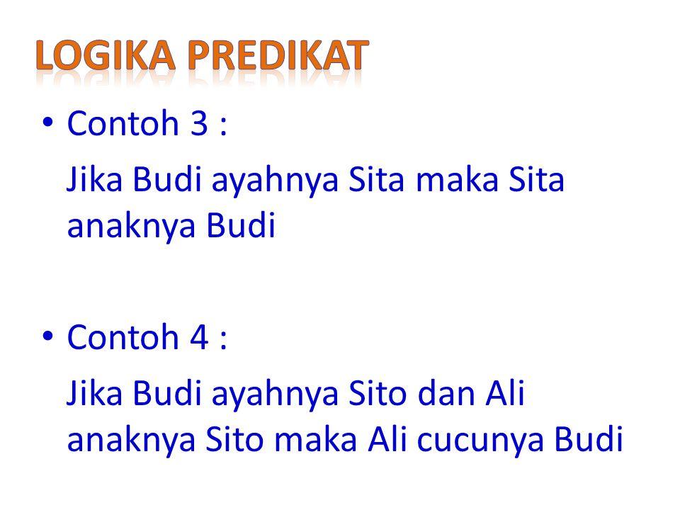 Contoh 3 : Jika Budi ayahnya Sita maka Sita anaknya Budi Contoh 4 : Jika Budi ayahnya Sito dan Ali anaknya Sito maka Ali cucunya Budi
