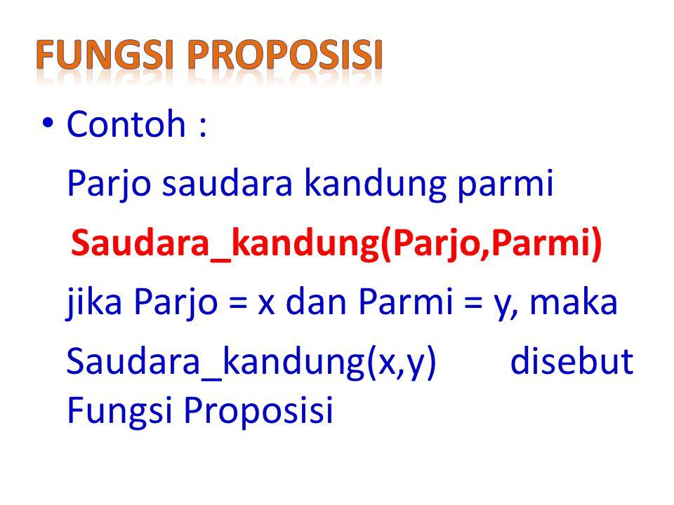 Contoh : Parjo saudara kandung parmi Saudara_kandung(Parjo,Parmi) jika Parjo = x dan Parmi = y, maka Saudara_kandung(x,y) disebut Fungsi Proposisi