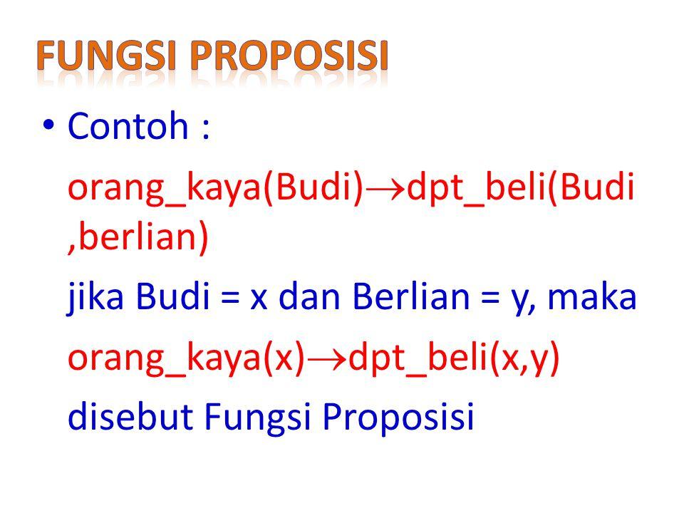 Contoh : orang_kaya(Budi)  dpt_beli(Budi,berlian) jika Budi = x dan Berlian = y, maka orang_kaya(x)  dpt_beli(x,y) disebut Fungsi Proposisi