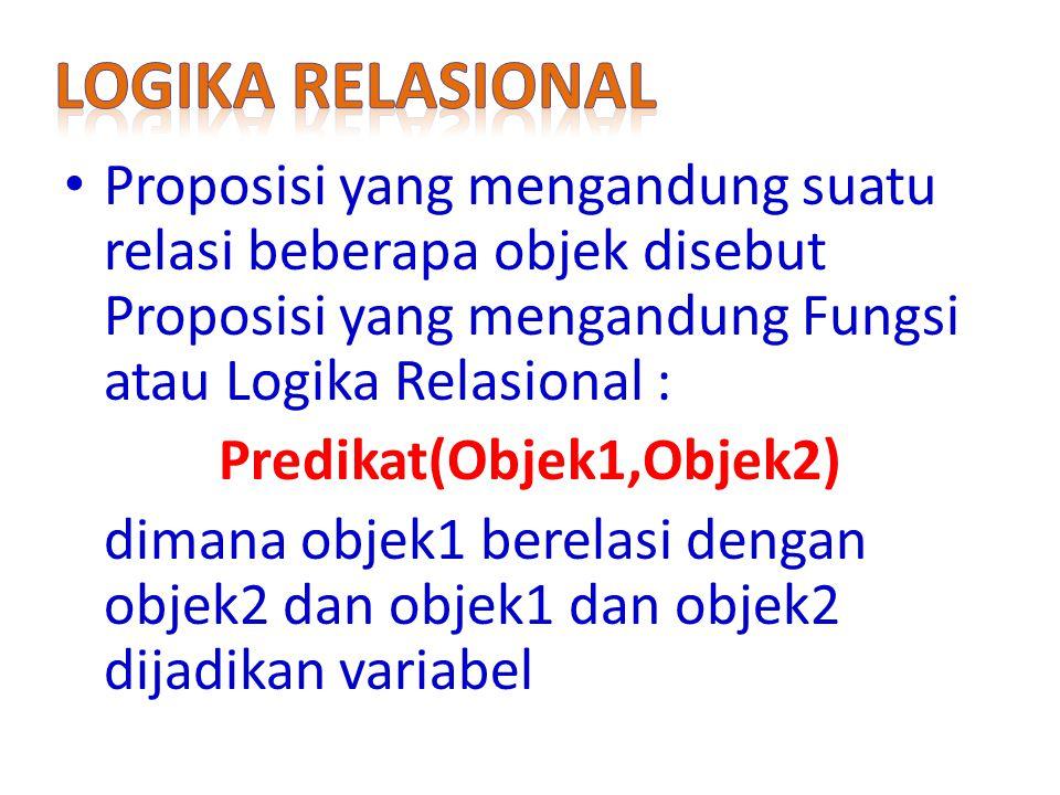Proposisi yang mengandung suatu relasi beberapa objek disebut Proposisi yang mengandung Fungsi atau Logika Relasional : Predikat(Objek1,Objek2) dimana