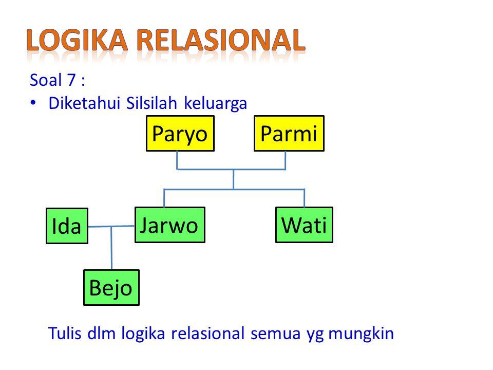Soal 7 : Diketahui Silsilah keluarga Tulis dlm logika relasional semua yg mungkin ParyoParmi JarwoWati Ida Bejo
