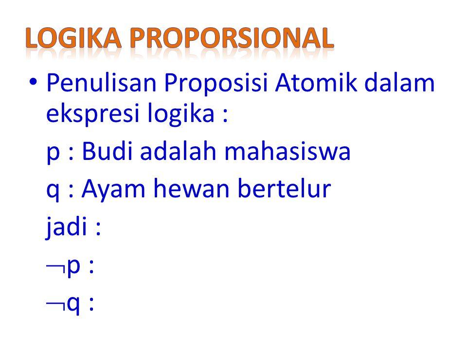 Penulisan Proposisi Atomik dalam ekspresi logika : p : Budi adalah mahasiswa q : Ayam hewan bertelur jadi :  p :  q :
